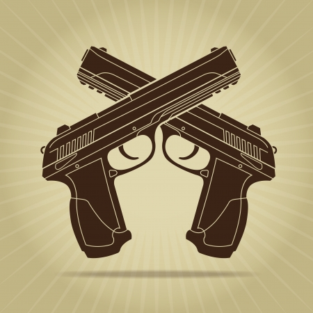 murder: Retro Styled Crossed Pistols Silhouette Illustration