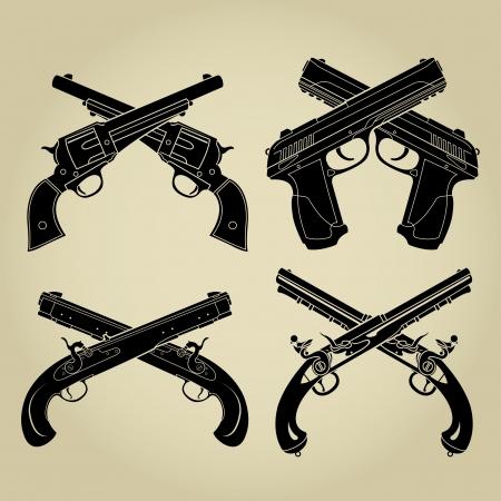 pistola: Evoluci�n de las armas de fuego, Siluetas cruzadas Vectores