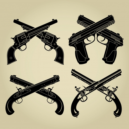 gun shot: Evolution of Firearms, Crossed Silhouettes  Illustration