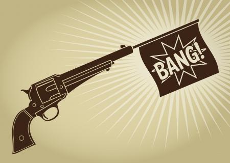 Uitstekende Gestileerde Revolver met Bang Vlag