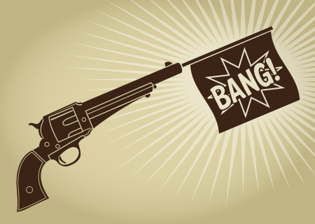 bang: Vintage Styled Revolver with Bang Flag