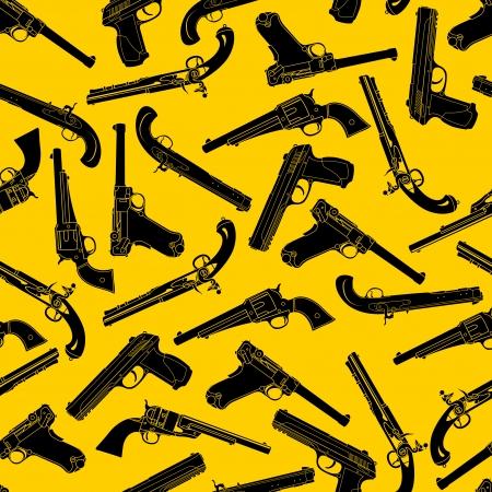 flintlock pistol: Handgun Silhouettes Seamless Pattern  Illustration