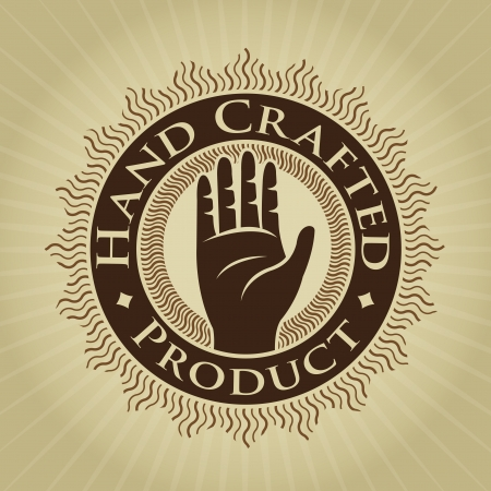 craftsperson: Vintage Styled Hand Crafted Product Seal  Label  Illustration