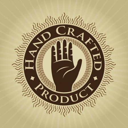 artisanale: Vintage Styled Handgemaakt Product Seal  Label