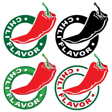 Chili Flavor Seal  Mark  Vector
