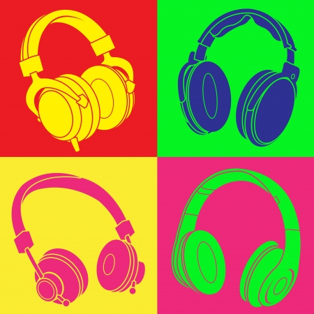 DJ Headphones POP Design  Vector