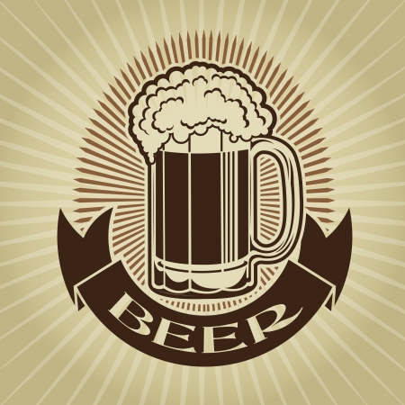 Retro Styled Beer Mug Seal  Mark  Vector