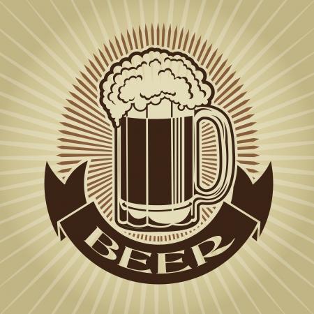 german beer: Retro Styled Beer Mug Seal  Mark