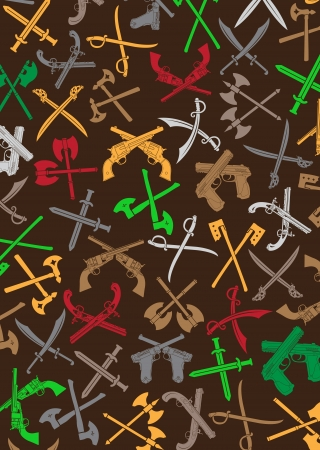Crossed Weapons Silhouettes Background Vector