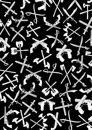 weaponry:  Crossed Weapons Silhouettes Background in Black & White