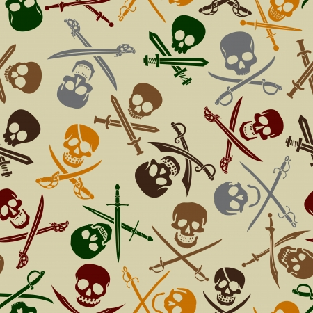 crossed swords: Pirate Skulls with Crossed Swords Seamless Pattern  Illustration