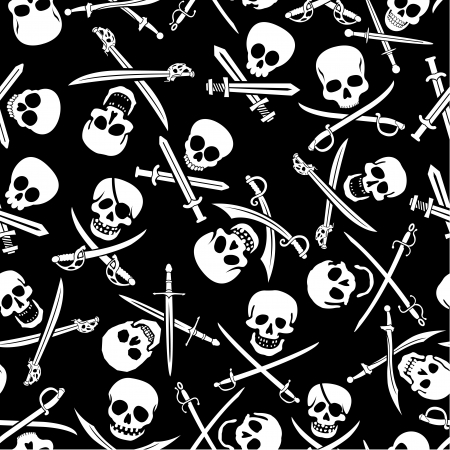 saber: Pirate Skulls with Crossed Swords Seamless Pattern in Black and White