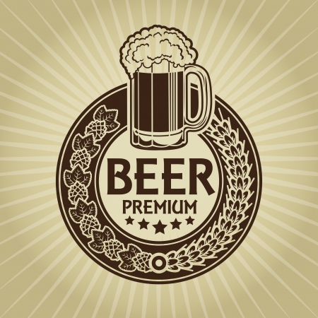 Beer Premium Retro Styled Seal  Label  Vector