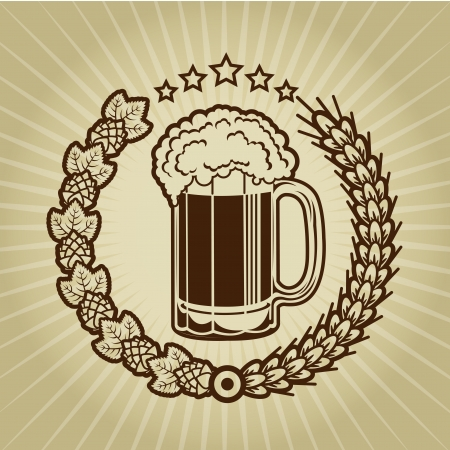Vintage Beer Mug Seal Vector