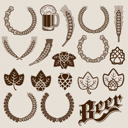 beer glass: Beer Ingredients Ornamental Designs