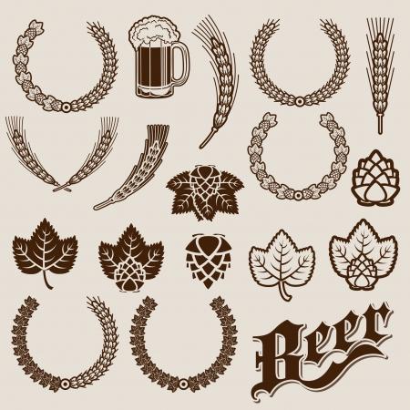 Bier Ingrediënten Decoratieve ontwerpen Stockfoto - 18358216