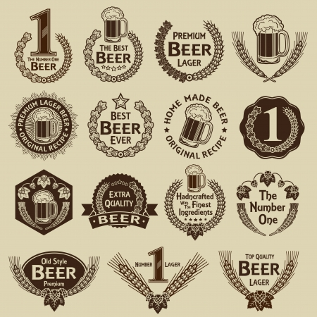 Vintage Collection Beer Seals & Marks  Stock Vector - 18515746