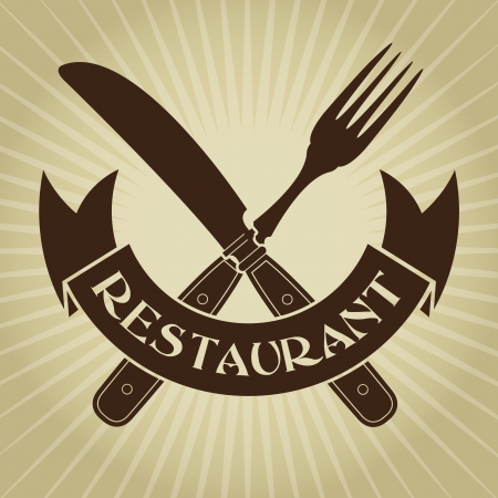 Vintage Styled knife and fork  Restaurant Seal Vector