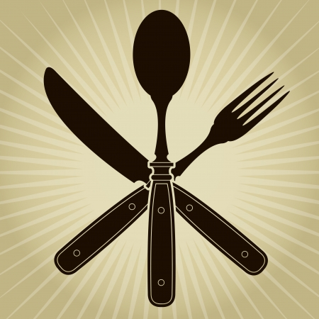 Vintage styled knife, fork and spoon / Restaurant Seal