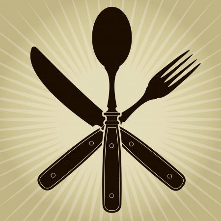 metal knife: Vintage styled knife, fork and spoon  Restaurant Seal