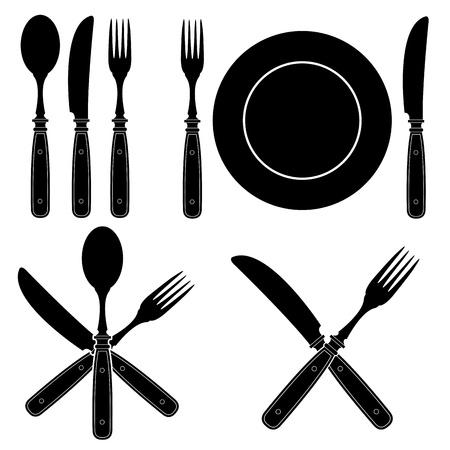 cuchara y tenedor: Vintage Cubiertos siluetas de dise�os
