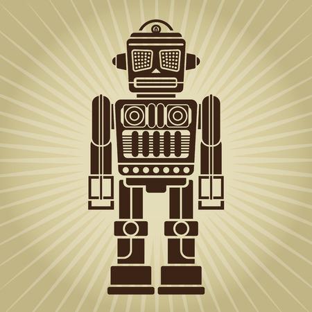 Retro Vintage Robot Illustration  Stock Illustratie
