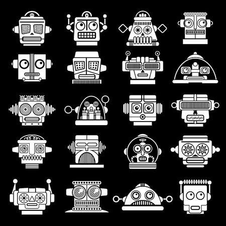 Retro Vintage Robot heads on Black Background  Stock Illustratie
