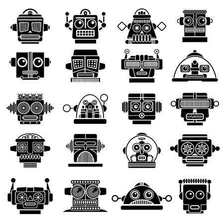 Retro Vintage Robot Heads  Vector
