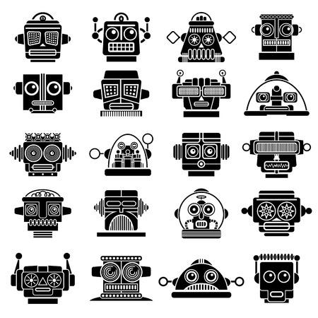Retro Vintage Robot Heads  Stock Illustratie