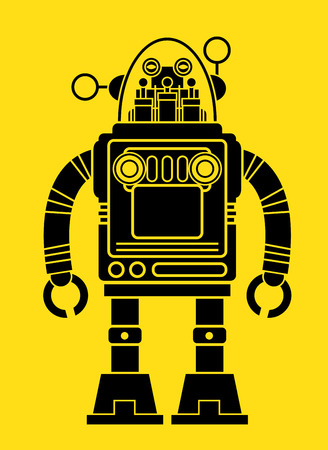 tin robot: Retro Tin Toy Robot Silhouette  Illustration