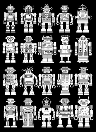 Vintage Retro Tin Toy Robot Collection   Black Background Vector