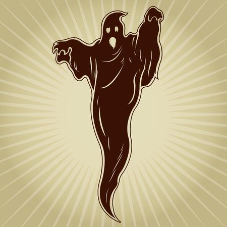 Vintage Retro Ghost Illustration