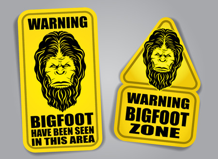 Bigfoot Warning Signs Vector