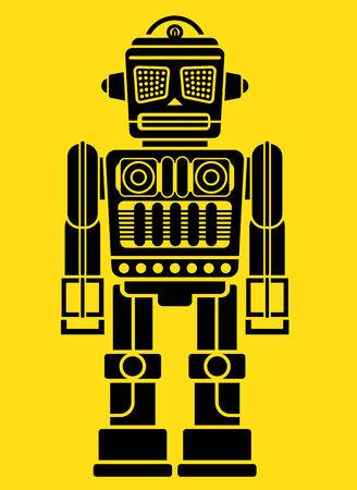 Retro Vintage Tin Toy Robot Figure Vector
