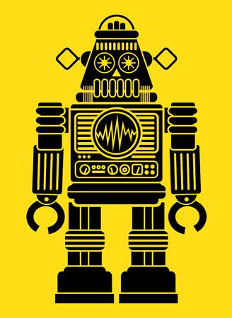 Retro Robot Silhouette Stock Illustratie