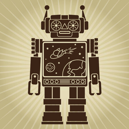 Vintage Retro Video Robot Character Vector