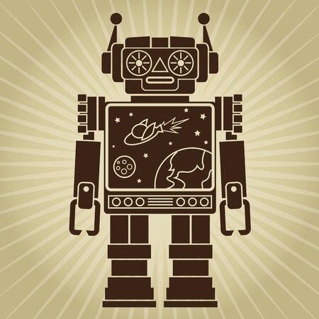 Vintage Retro Video Robot Character