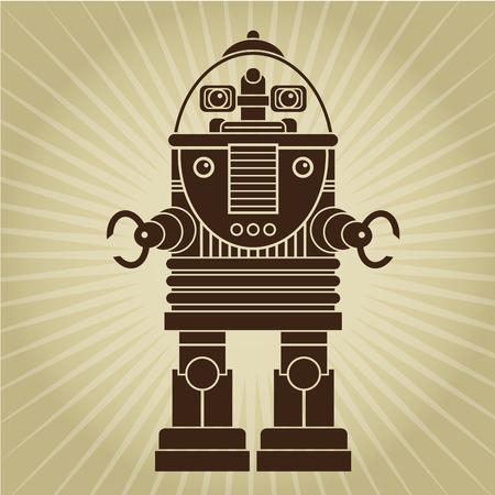 Retro Vintage Robot Character Stock Illustratie