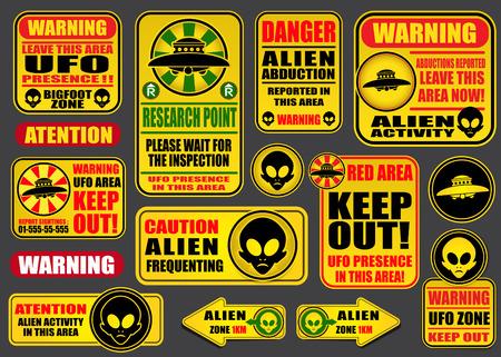 estrella caricatura: Advertencia Aliens ovnis Colecci�n de las se�ales