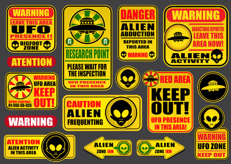 Warning UFO Aliens Signs Collection Vector