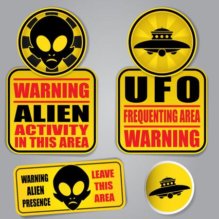 estrella caricatura: Se�ales de advertencia extranjero del UFO Vectores