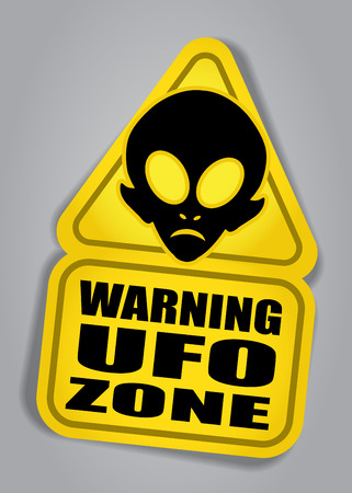 alien face: Warning UFO ZONE sign