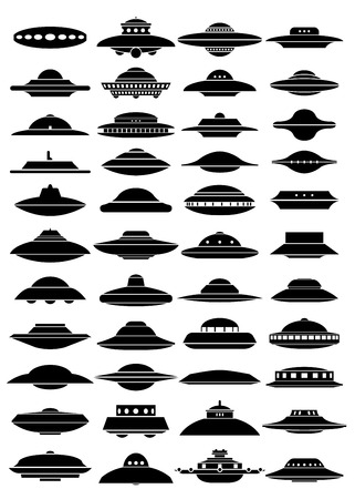 Vintage UFO Flying Saucer Shapes Silhouettes