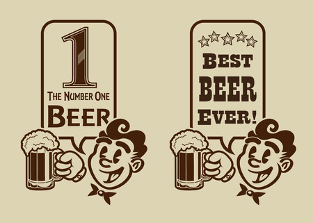 numbers icon: Best Beer retro vintage character