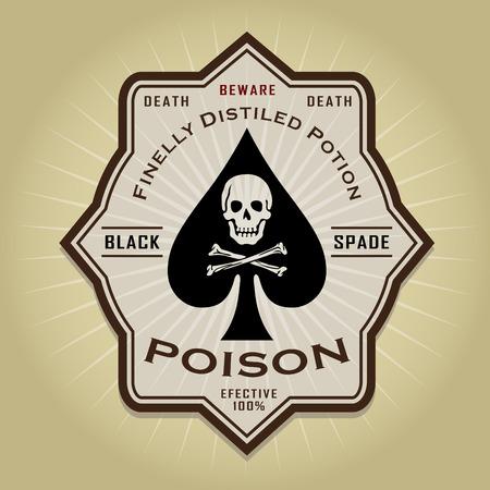 Black Spade retro vintage poison label