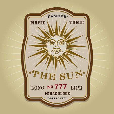 The Sun tonic vintage retro label Stock Illustratie