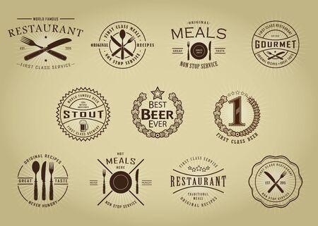 Retro Vintage Restaurant and Beer seals Stock Illustratie