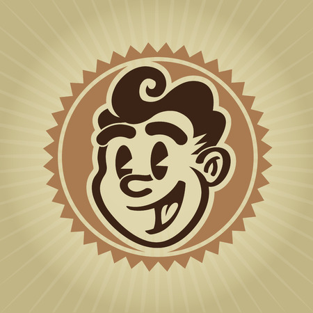 50s man: Vintage Retro Character Face Seal Illustration
