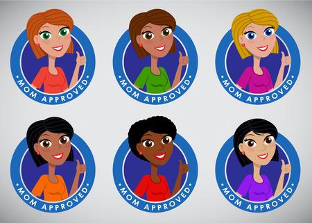 Multiethnic Multiracial Mom Approved Seal September Stock Illustratie
