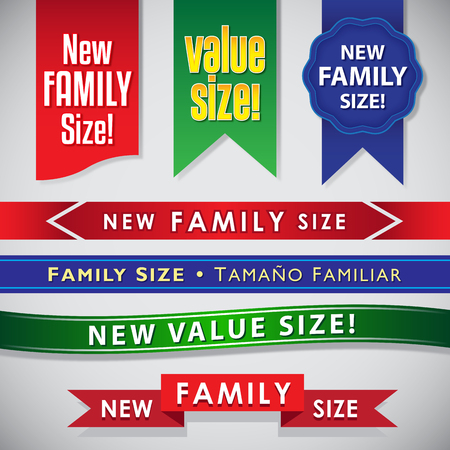 boxed: New Family Size and Value Size icons, seals and ribbons September